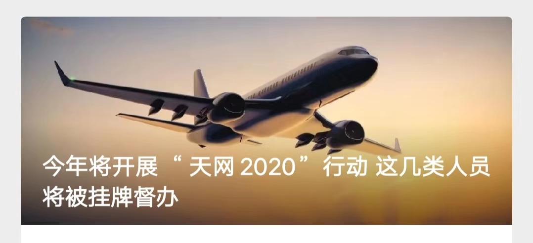 """今年将开展""""天网2020""""行动 这几类人员将被挂牌督办"""
